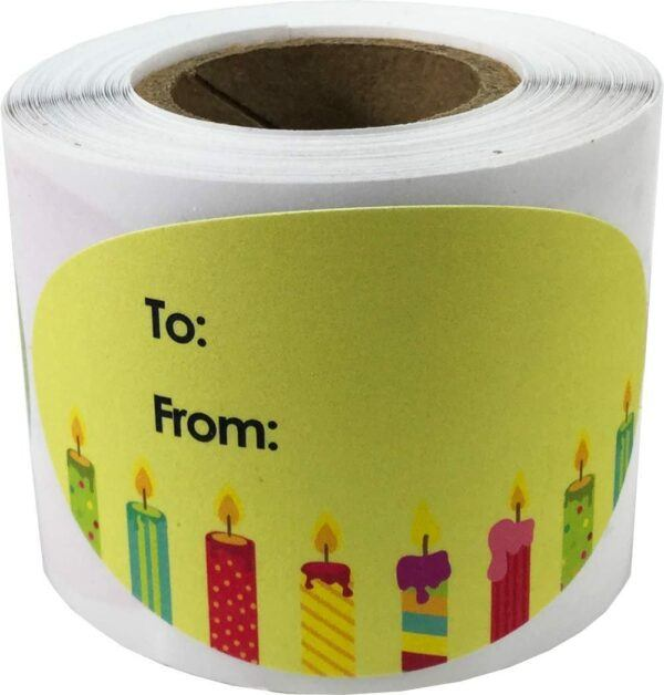 Birthday Gift Labels and Tags: Birthday Sticker Labels Candle Yellow