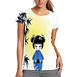 Women's T Shirts, Illustration of a Kokeshi Doll and Bamboo
