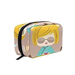 Japanese Kokeshi Summer Doll Illustration With Yummy Ice Cream And Sweet Candies Cosmetic Bag