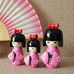 Japanese Kokeshi Wooden Doll Girl Ornament Kimono Pink 3 PCS in 1 Set