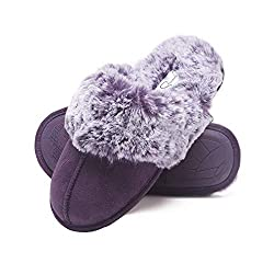 Gifts That Are Purple: Jessica Simpson Comfy Faux Fur Womens House Slipper Scuff Memory Foam Slip On Anti-Skid Sole