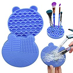 Makeup Brush Cleaning Mat and Brush Drying Storage Stand.