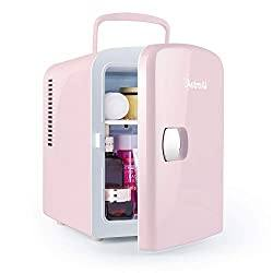 Gifts That Are Pink: Mini Fridge 4 Liter/6 Can AC/DC Portable Thermoelectric Cooler and Warmer