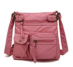 Scarleton Multi Pocket Crossbody Bag for Women, Ultra Soft Washed Vegan Leather Shoulder Purse, H1833