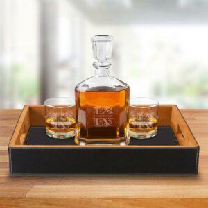 Gift Sets For Men: Decanter Set with Black Serving Tray & 2 Lowball Glasses