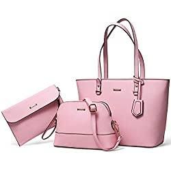 Pink Top Handle Satchel Purse Set 3pcs