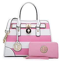 Pink and White Striped Purse and Pink Wallet