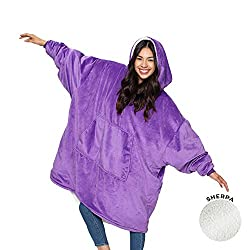 Gifts That Are Purple: THE COMFY Original | Oversized Microfiber & Sherpa Wearable Blanket, Seen On Shark Tank, One Size Fits All