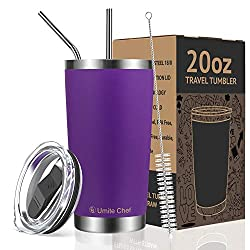 Gifts That Are Purple: Tumbler Double Wall Stainless Steel Vacuum Insulated Travel Mug with Lid