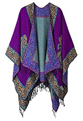 Gifts That Are Purple: Women's Fashionable Retro Style Vintage Pattern Tassel Poncho Shawl Cape