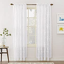 Alison Floral Lace Sheer Rod Pocket Curtain Panels