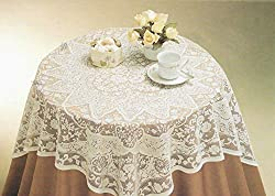 "Aristocrata White or Ecru Color Lace Tablecloth. Floral Design. Square Shape (40"" Square)"