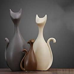 Cat Porcelain Ceramic  Art Figurines