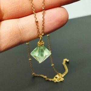Green Fluorite Pendant Necklace Octahedron
