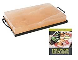 Himalayan Salt Plate & Holder Set with Recipe Book, 8 x 12