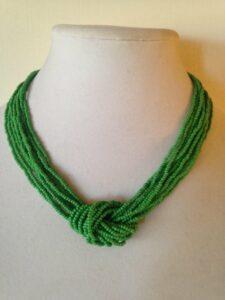 Kelly green Sailors Knott Beaded Necklace