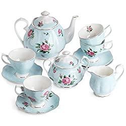 Light Blue Floral Tea Set