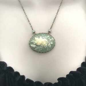 Sage Green Floral Cameo