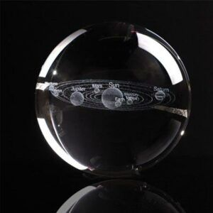 3D Miniature Solar System Model Crystal Ball Laser Engraved 2