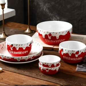 7pcs set, Strawberry porcelain dinner set plate and bowl set