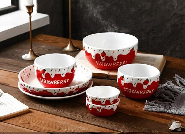7pcs set, Strawberry porcelain dinner set plate and bowl set