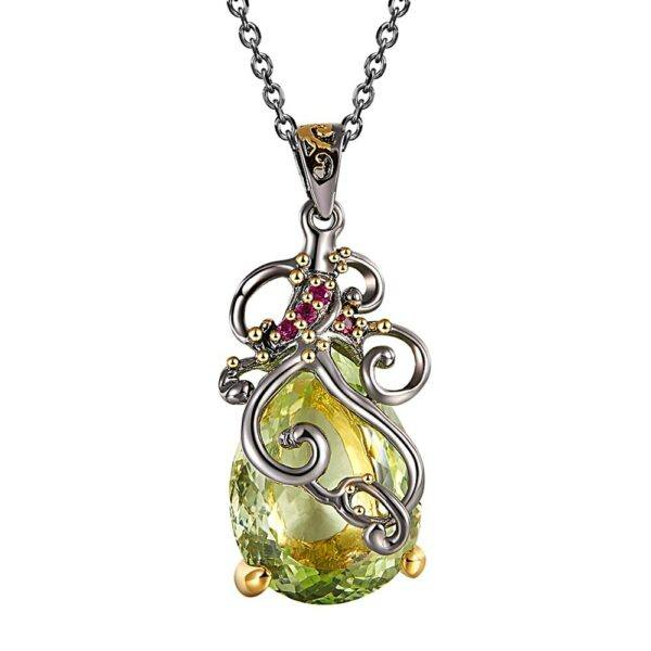 Gifts That Are Green: Long Chain Pendant Necklaces Big Green Water Drop CZ