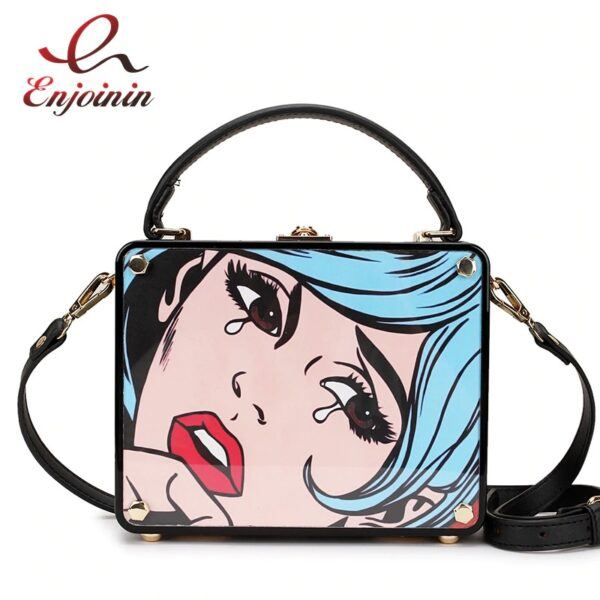 Fashion Box Design Cartoon Picture Women Hand Bag