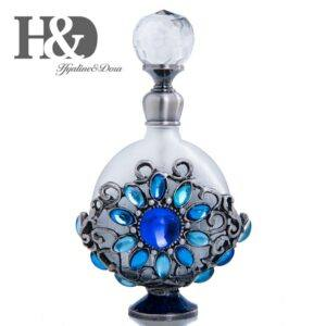 Gifts That Are Blue: Vintage Metal Perfume Bottle Hollow Flower Pattern with Blue Crystals