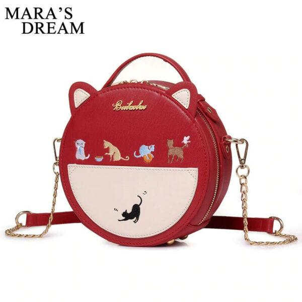 Cat Gifts For Her: Mara's Dream Embroidery Cat Women Round Shoulder Bag