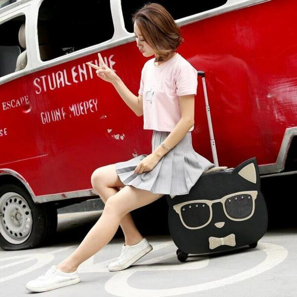 Cat Rolling Suitcase with Cosmetic bag