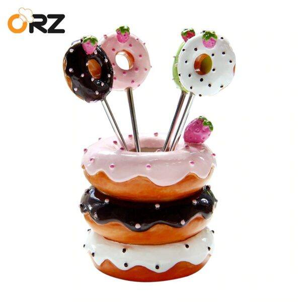 Doughnut Cocktail Forks Set With Holder