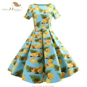1950s Light Blue Lemon Print Plus Size Dress S-5XL