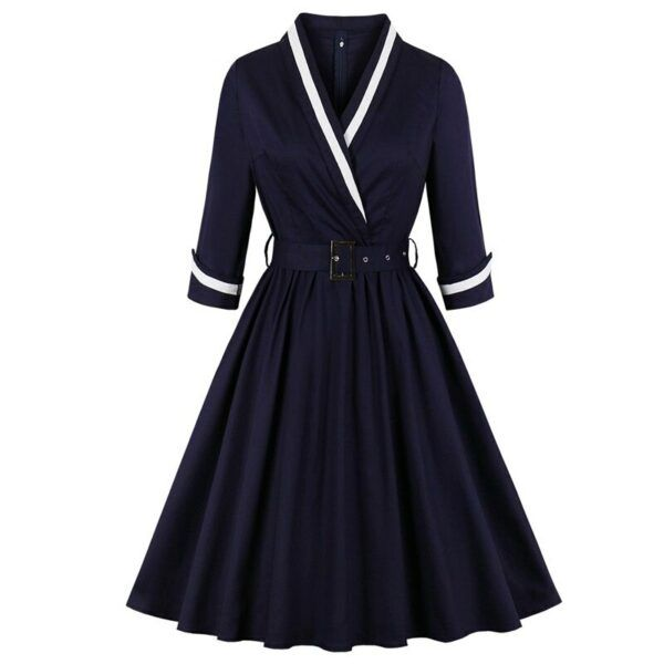 1950s Vintage Style Belted Elegant Pleated Dress