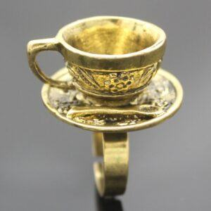 Vintage Wonderland Tea Cup Ring Gold