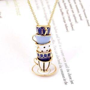 Enamel Teacup Pendant Necklace