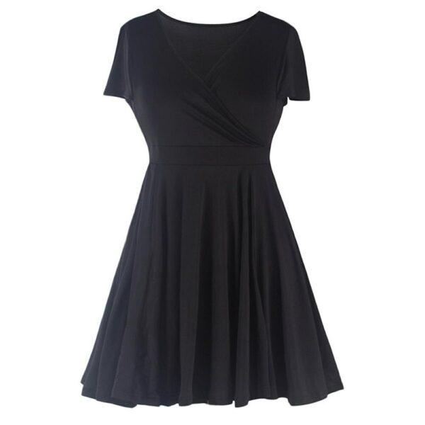 Women Vintage Sexy V-neck Short Sleeve 50s Party A-line Dress
