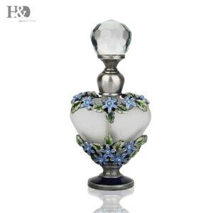 Gifts That Are Blue: Blue Flowers Antiqued Style Glass Perfume Bottle