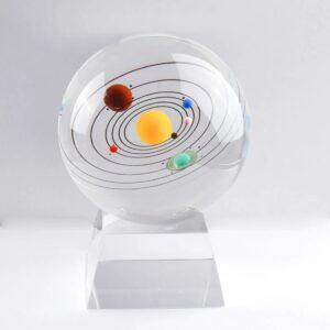 3D Miniature Solar System Model Crystal Ball Laser Engraved 3