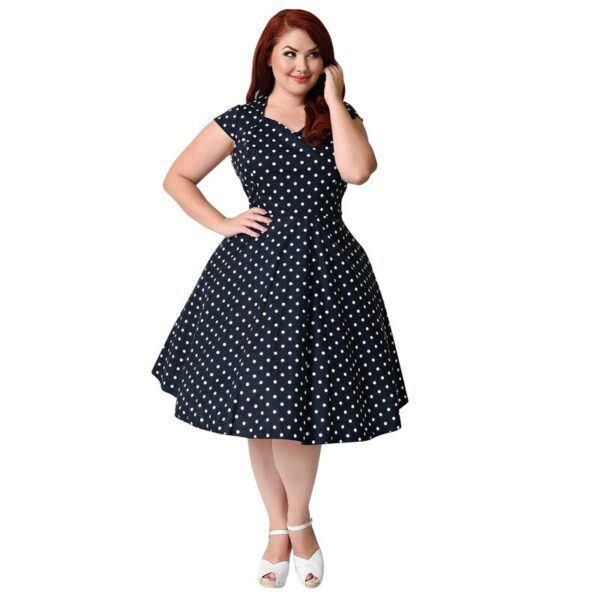 Women Plus Size Vintage 1950's Polka Dot Dress 3XL to 9XL