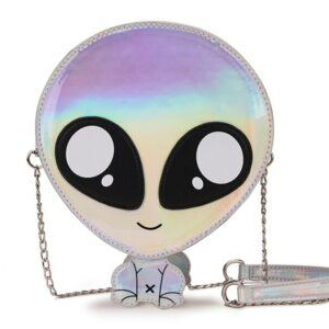 Green & Silver Cute Alien Design Women Purses and Handbags