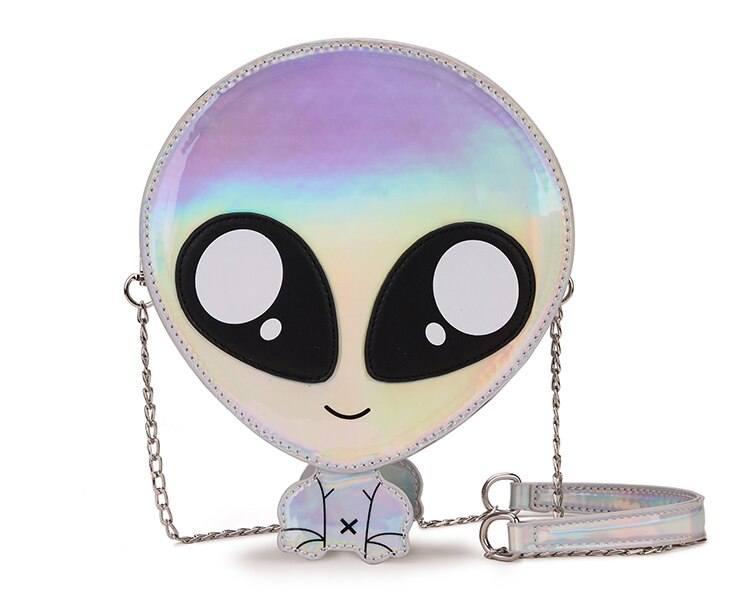 Green & Silver Cute Alien Design Women Purses and Handbags