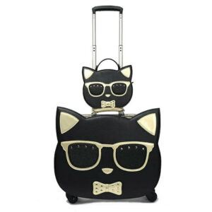 Cat Gifts For Her: Cat Rolling Suitcase with Cosmetic bag
