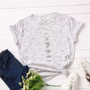 Statement T-Shirts: Phases of the Moon White-Grey