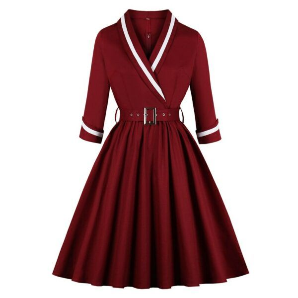 1950s Vintage Style Belted Elegant Pleated Dress