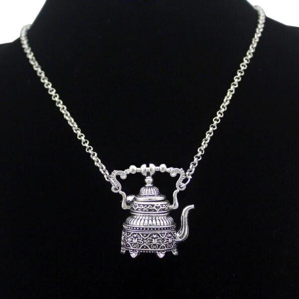 Vintage Silver Plated Victorian 3D Tea Pot Necklace