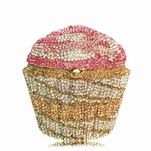 Women Fashion Cupcake Crystal Clutch Evening Bag