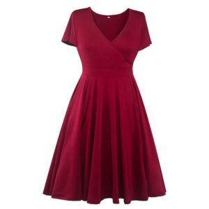 Women Vintage Sexy V-neck Short Sleeve 50s Party A-line Dress