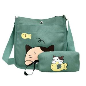 2pcs/set Cute Cartoon Cat Canvas Women Shoulder Bag