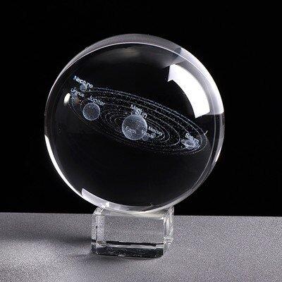 3D Miniature Solar System Model Crystal Ball Laser Engraved 1