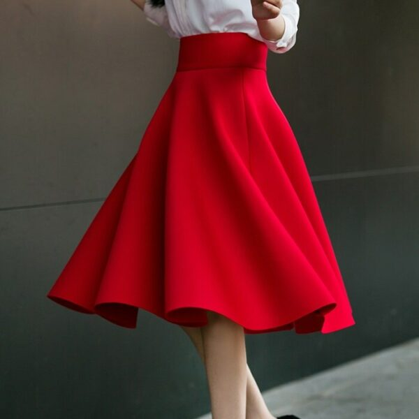 XS To 5XL Women's High Waisted Skirts Knee Length Pleated Skirt